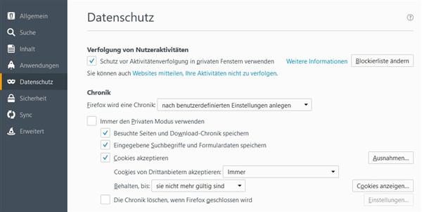 Datenschutz in Firefox