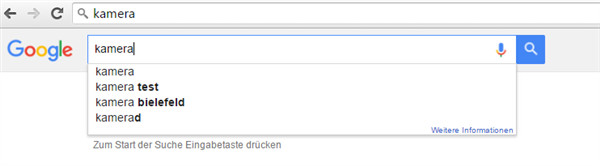 bei der recherche nach keywords auch google suggest nutzen