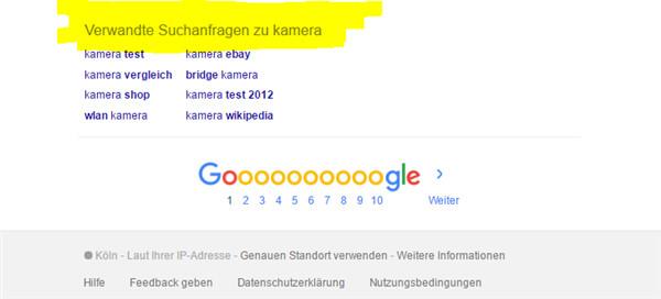 Verwandte Suchanfragen von Google zur Keywordrecherche nutzen