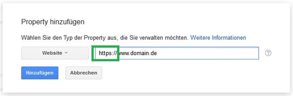 Property in Google Search Console HTTP zu HTTPS