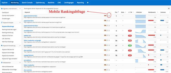 Ein Screenshot aus dem PageRangers Tool mit mobilen Rankings