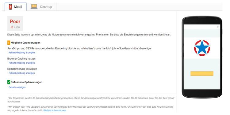 Die Ergebnisse von PageSpeed Insights für PageRangers