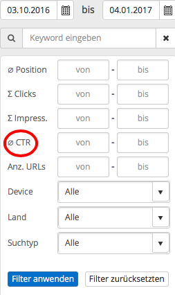 Filter Search Console