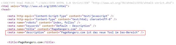 Änderung der Meta-Description im HTML-Code