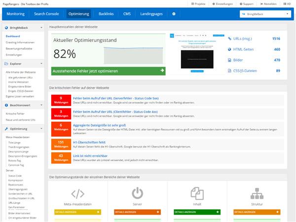 Das Dashboard der Onpage Optimierung