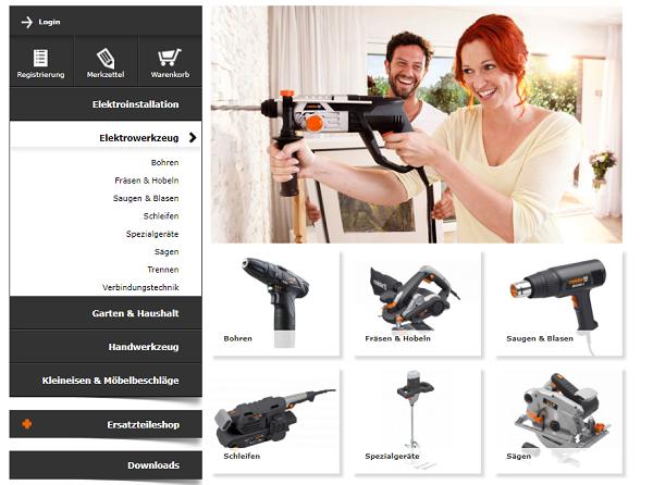 Durch die Listung der Kategorien kann der User schnell sein Ziel finden, und dann kaufen