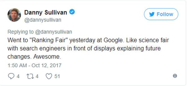 Danny Sullivan auf Twitter über die tollen Erfahrungen bei Google