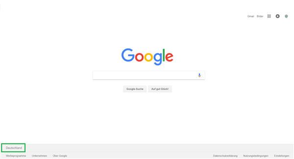 Im Browser erscheint unten links das derzeitige Land