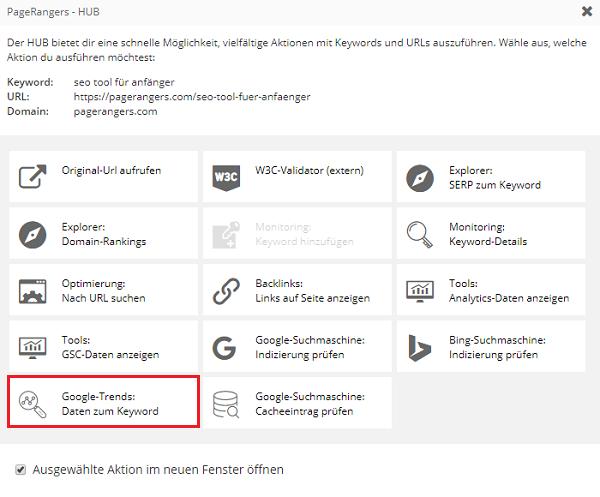 Das PageRangers Hub zeigt verschiedene Aktionen, die schnell ausgeführt werden können