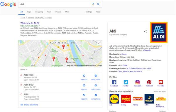 Ein SERP Ausschnitt aus der Google Suche zu Aldi