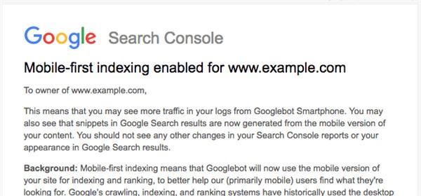 Eine Benachrichtigung von Google über den Wechsel zum mobile-first Index