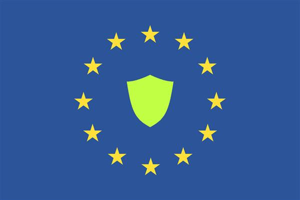 EU Flagge mit Schild in der Mitte