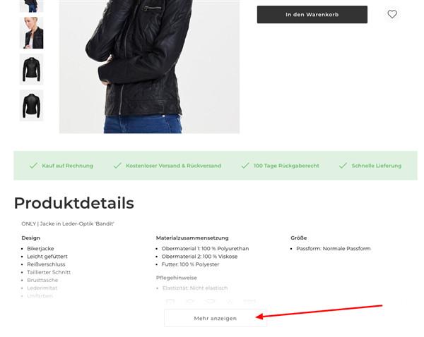 Ein Screenshot aus Zalandos Webseite mit verstecktem Inhalt