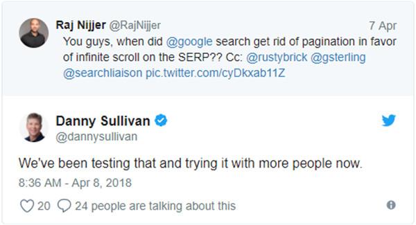 Eine Kurzdiskussion auf Twitter zum neuen Feature in der mobilen Suche (mit Googles Danny Sullivan)