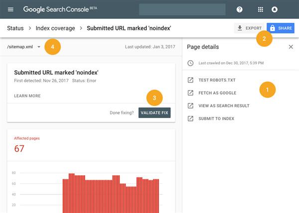 Ein Screenshot aus der Google Search Console - mit Graphen und Anleitungen