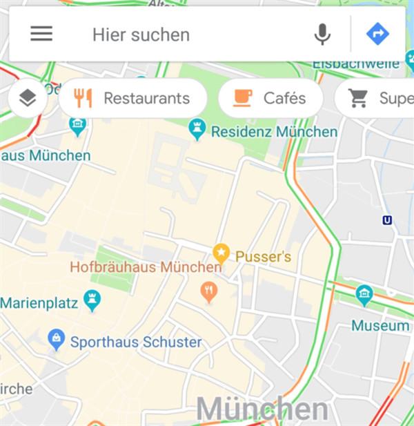 Screenshot aus Google Maps mit neuen Icons