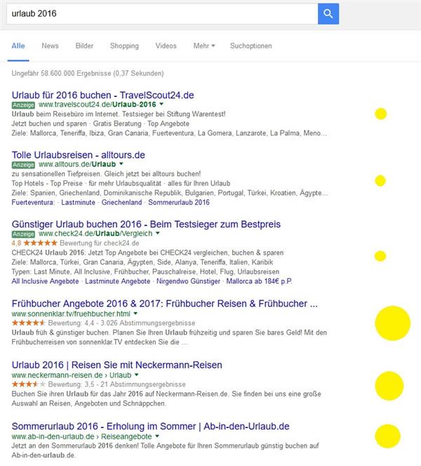 Google-Suche Urlaub