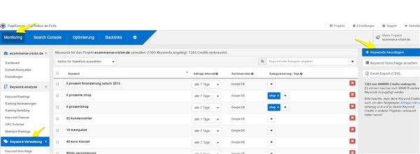 Keyword-Verwaltung im Monitoring