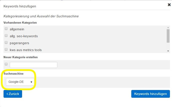 Neues Feature: Suchmaschinenauswahl