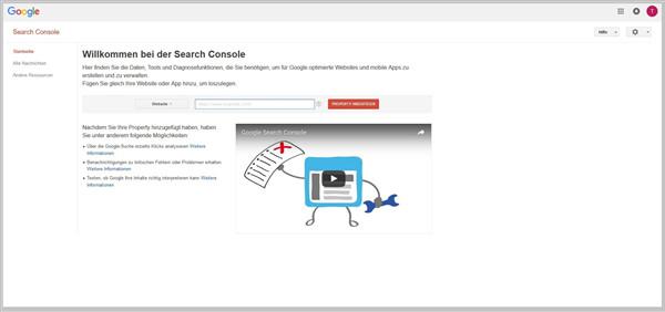 Google Search Console Startseite