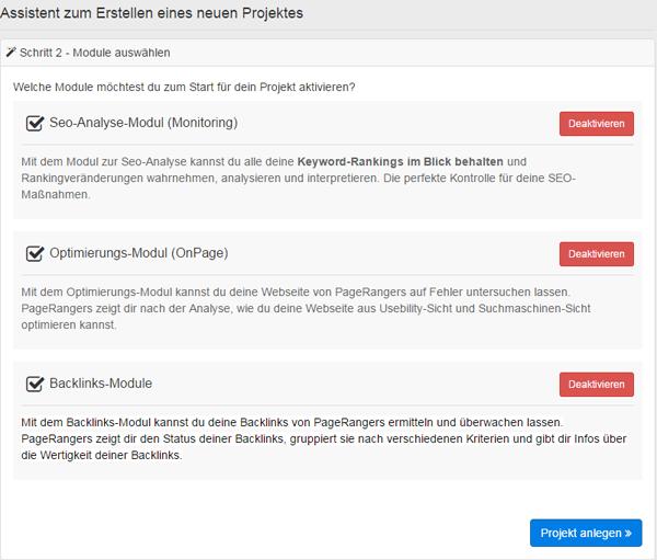 Hier kannst Du die verfügbaren Module von PageRangers aktivieren und deaktivieren