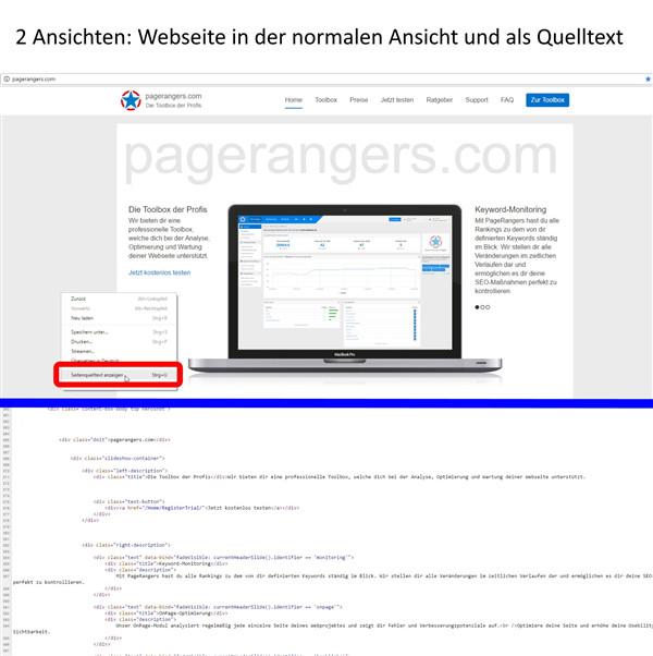 2 Ansichten - normale Webseite und Quelltext