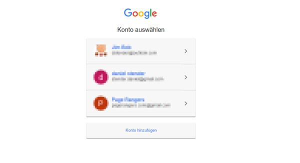 Google Konto auswählen
