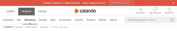 Breadcrumb Navigation von der Webseite Zalando