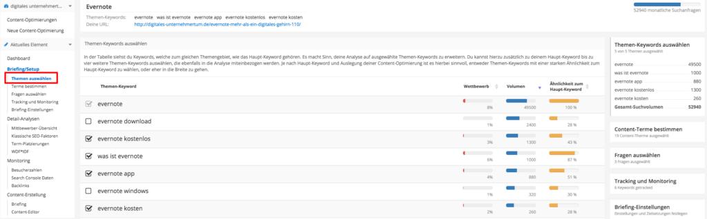 Themenauswahl Content Suite