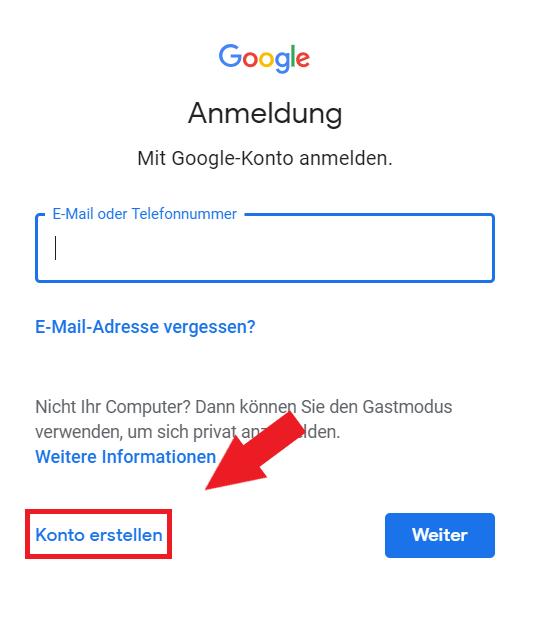 Google Konto Anmeldung