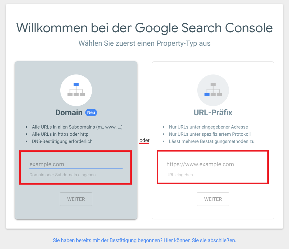 Search Console Property Typ