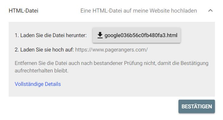 HTML-Datei Inhaberschaft bestätigen