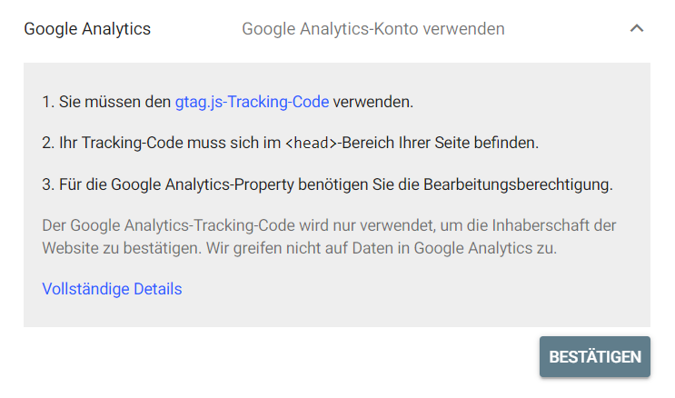 Google Analytics Inhaberschaft bestätigen