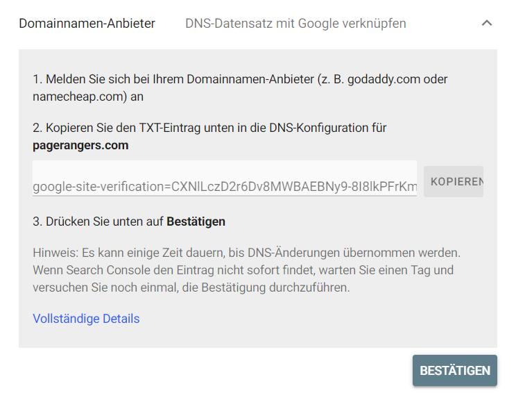 Search Console Domainname-Anbieter bestätigen