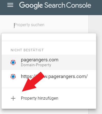 Search Console Property hinzufügen