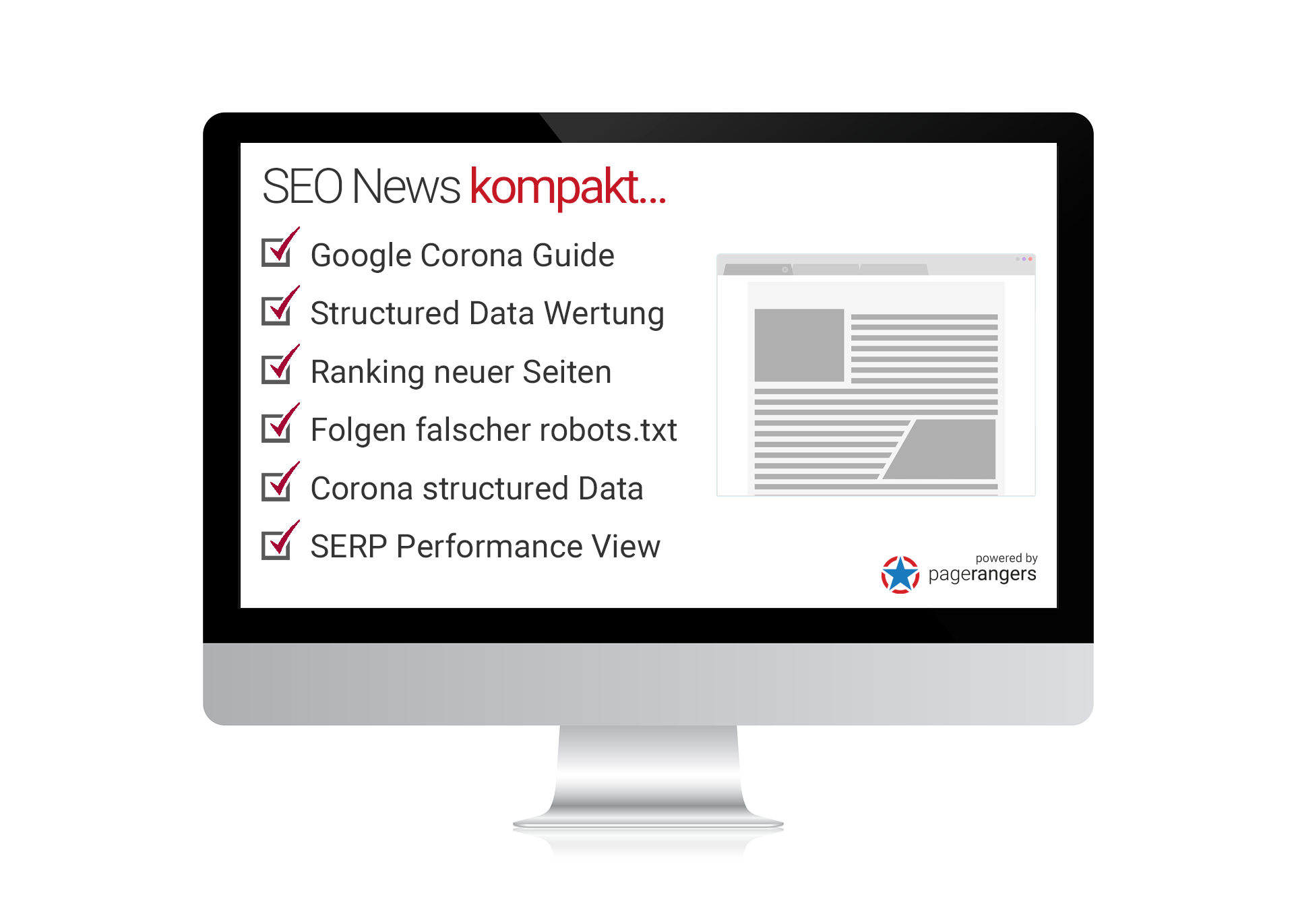 Google Corona Guide, Structured Data, Ranking neuer Seiten, Folgen falscher robots.txt, Corona structured Data, SERP Performance View
