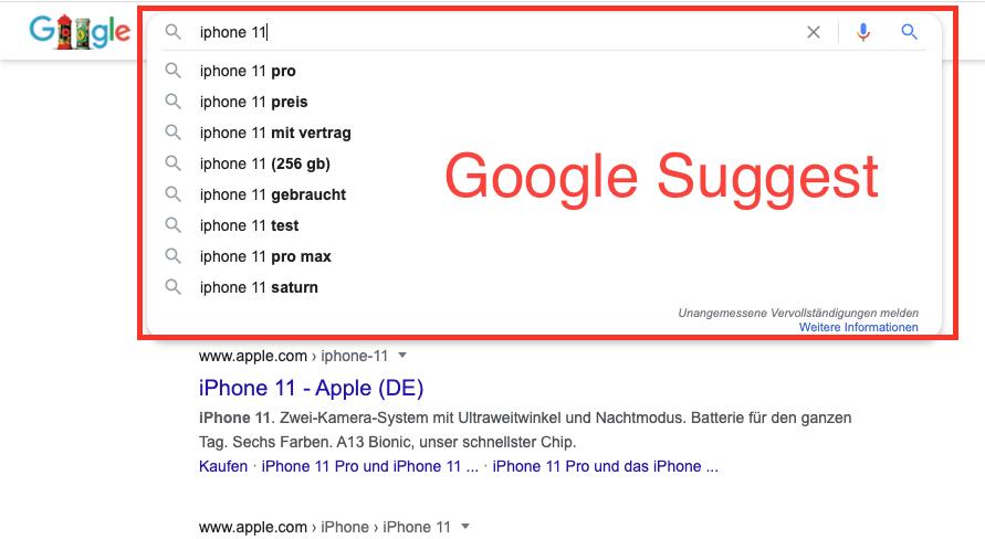 In Google Suggest erhält man Keyword vorschläge