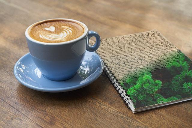 Kaffe und Evergreen Text Notizbuch